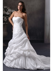 A-Line Strapless Court Train Appliques Taffeta Wedding Dress