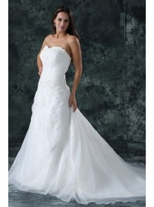 A-Line Sweetheart Beading Organza Wedding Dress with Court Train