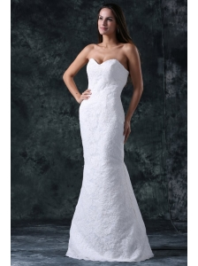 Column Sweetheart Floor-length Lace White Wedding Dress