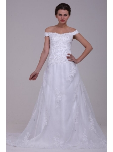 Elegant Column Off The Shoulder Appliques Organza 2014 Wedding Dress