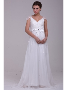 Empire V-Neck Floor-length Zipper Up Wedding Dress with Beading