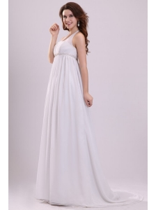 Halter Top Neck Chiffon Empire Beading Wedding Dress with Sweep Train