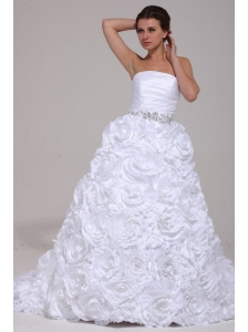Luxurious A-Line Strapless Beading Taffeta 2014 Wedding Dress