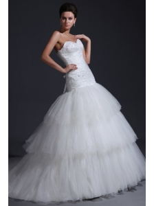 Mermaid Sweetheart Appliques Decorate Bodice Tulle Wedding Dress