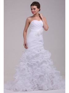 Mermaid Sweetheart Ruching and Ruffles Brush Train Organza Wedding Dress