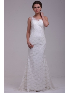 One Shoulder Column Lace Organza Brush Train Wedding Dress
