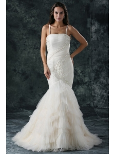 Spaghetti Strap Mermaid Beaded Decorate Tulle Wedding Dress
