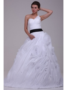 Sweetheart Ball Gown One Shoulder Ruffles White Wedding Dress with Lace Up