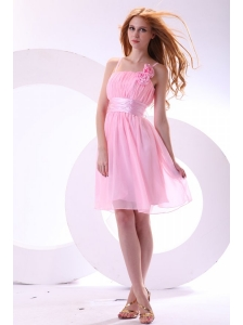 Pretty A-line Straps Knee-length Chiffon Sashes Pink 2014 Prom Dress