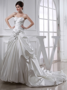 2014 Fashinable Princess Ball Gown Sweetheart Paillette Pick-ups Wedding Dress