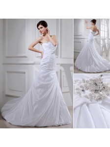 2014 Spring Popular Puffy Sweetheart Wedding Dress with Beading