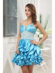 A-line Aqua Blue Halter Top Ruching Ruffles Lace Prom Dress