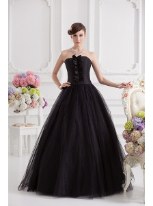 Simple A-line Strapless Tulle Black Quinceanera Dress with Ruffles