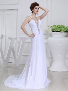 2014 Column V-neck Chiffon Beading Wedding Dress with Sweep Train