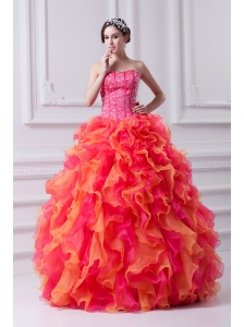 82b78e02441 2014 Spring Puffy Multi-color Strapless Beading Quinceanera Dress with  Ruffles  US  183.6720