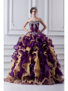 Beautiful Ball Gown Multi Colored Sweetheart 2014 Quinceanera Dress with Beading