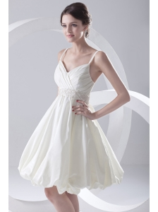 Cheap A-line Spaghetti Straps Knee-length Ruching Satin Wedding Dress