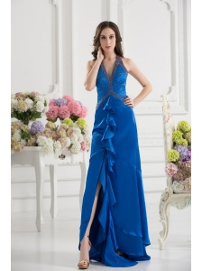 Column Blue Empire Halter Top Prom Dress with  Beading and High Slit