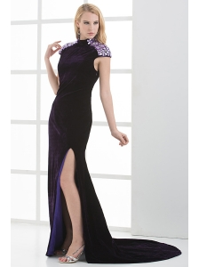 Column High-neck Cap Sleeves Dark Purple Beading High Slit Prom Dress