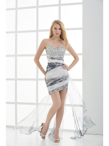 Column Sweetheart Beading Ruching Tulle High-low Prom Dress