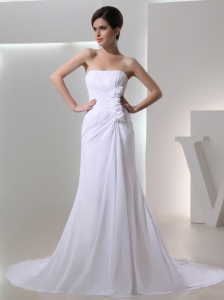 Elegant Column Strapless Court Train Chiffon Ruching White Wedding Dress in 2014