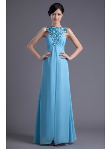 Empire Halter Top Floor-length Beading Aqua blue Prom Dress