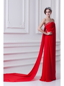Empire Red Strapless Beading Chiffon Watteau Train Prom Dress