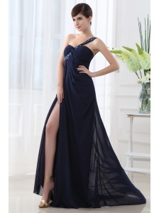 Empire Ruffles High Slit One Shoulder High Slit Navy Blue Prom Dress