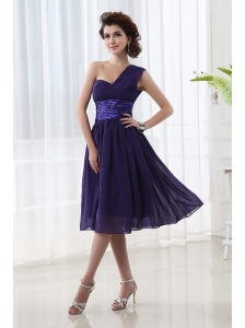 Lovely One Shoulder A-line Knee-length Prom Dress with Belt