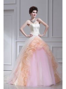 Multi-color Ball Gown Strapless Ruffles Court Train Quinceanera Dress