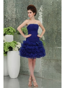 Organza Column Bule Ruffled Layers Bowknot Strapless Prom Dress