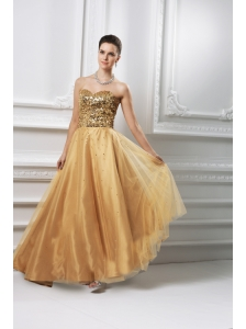 A-line Sweetheart Beading Organza Floor-length Prom Dress
