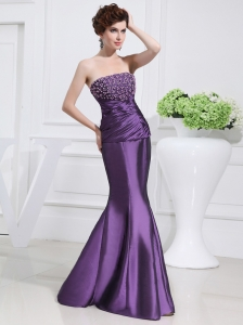 Strapless Floor-length Beading Taffeta Eggplant Purple Prom Dress