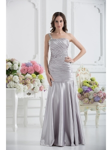 A-line One Shoulder Satin Beading and Ruching Prom Dress in Sliver