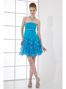 A-line Strapless Prom Dress with Beading Ruching Appliques Organza