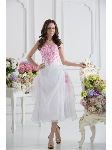 A-line Strapless White Organza Tea-length Prom Dress with Appliques
