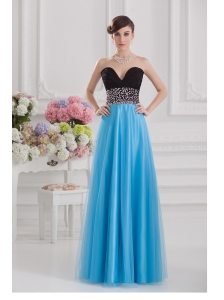Aqua Blue and Black Empire Sweetheart Tulle Prom Dress with Beading