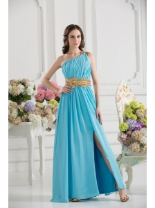 Aqua Blue Empire One Shoulder Floor-length High Slit Prom Dress