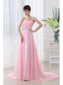 Baby Pink One Shoulder Court Train Chiffon Prom Dress with Beading and Ruching