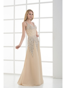 Column Floor-length Beading Organza Champagne Prom Dress