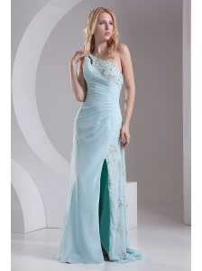 Column One Shoulder Chiffon Beading High Slit Prom Dress in Light Blue