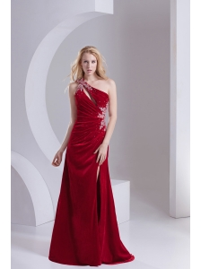Column One Shoulder Special Fabric Beading High Slit Wine Red Prom Dress