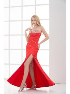 Column Red Sweetheart Sleeveless Beading and Ruching High Slit Prom Dress
