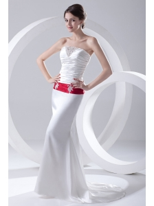 Column Ruchings Belt Beading White Brush Train Dress for Prom