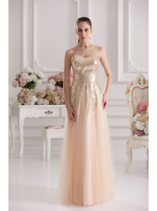 Column Sweetheart Serquins Champagne Floor-length Prom Dress