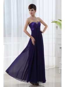 Dark Purple Sleeveless Prom Dress with Sweetheart Empire Beading