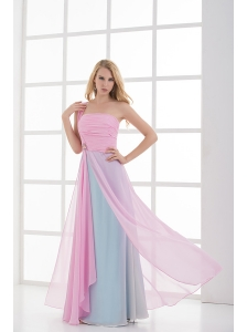 Empire One Shoulder Baby Pink and Blue Chiffon Ruching Prom Dress