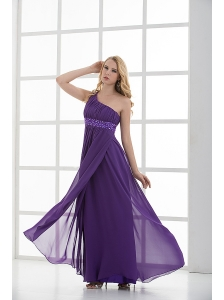 Empire One Shoulder Beading Chiffon Purple Prom Dress