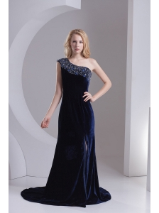 Empire One Shoulder Black Beading Zipper-up Prom Dress