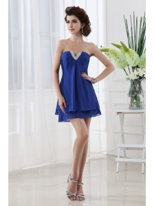 Empire Strapless Blue Mini-length Chiffon Prom Dress with Beading
